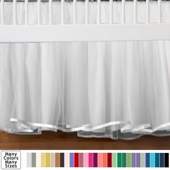 Awesome Tulle Crib Skirt Satin Trim Dust Ruffle Mini Crib Skirt In Any Drop Length Tulle Crib Skirts Crib Skirts Mini Crib