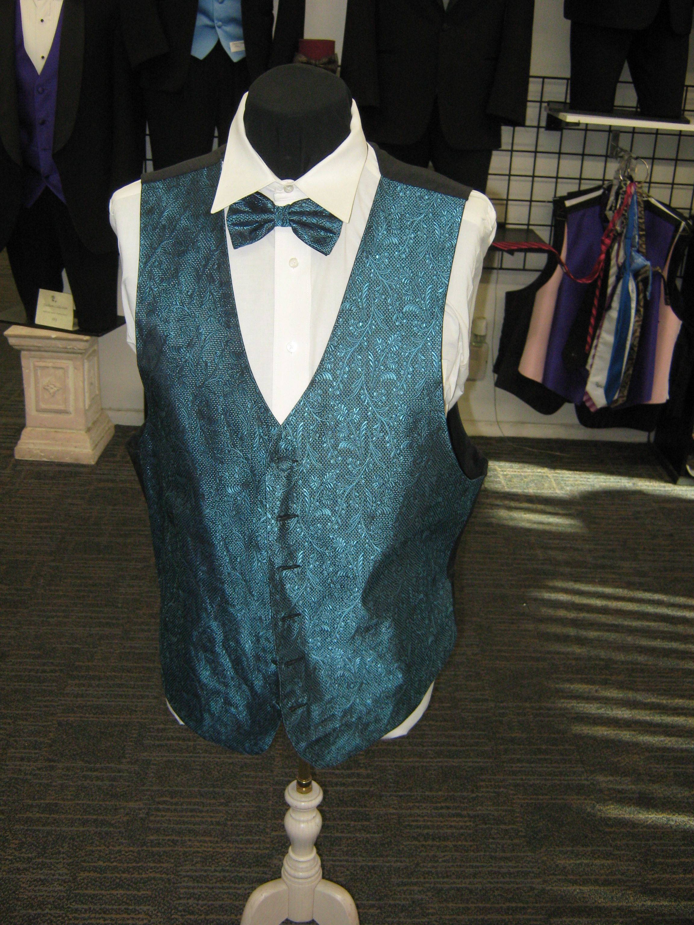 Teal bull back vest great for weddings and prom and quince\'s. Rose ...