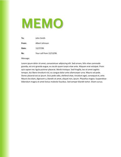 Green gradient memo design Memo Template Free Pinterest - sample business memo