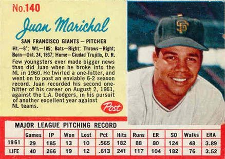 Post Cereal Baseball Cards Marichal 1962 Post Cereal Card Size