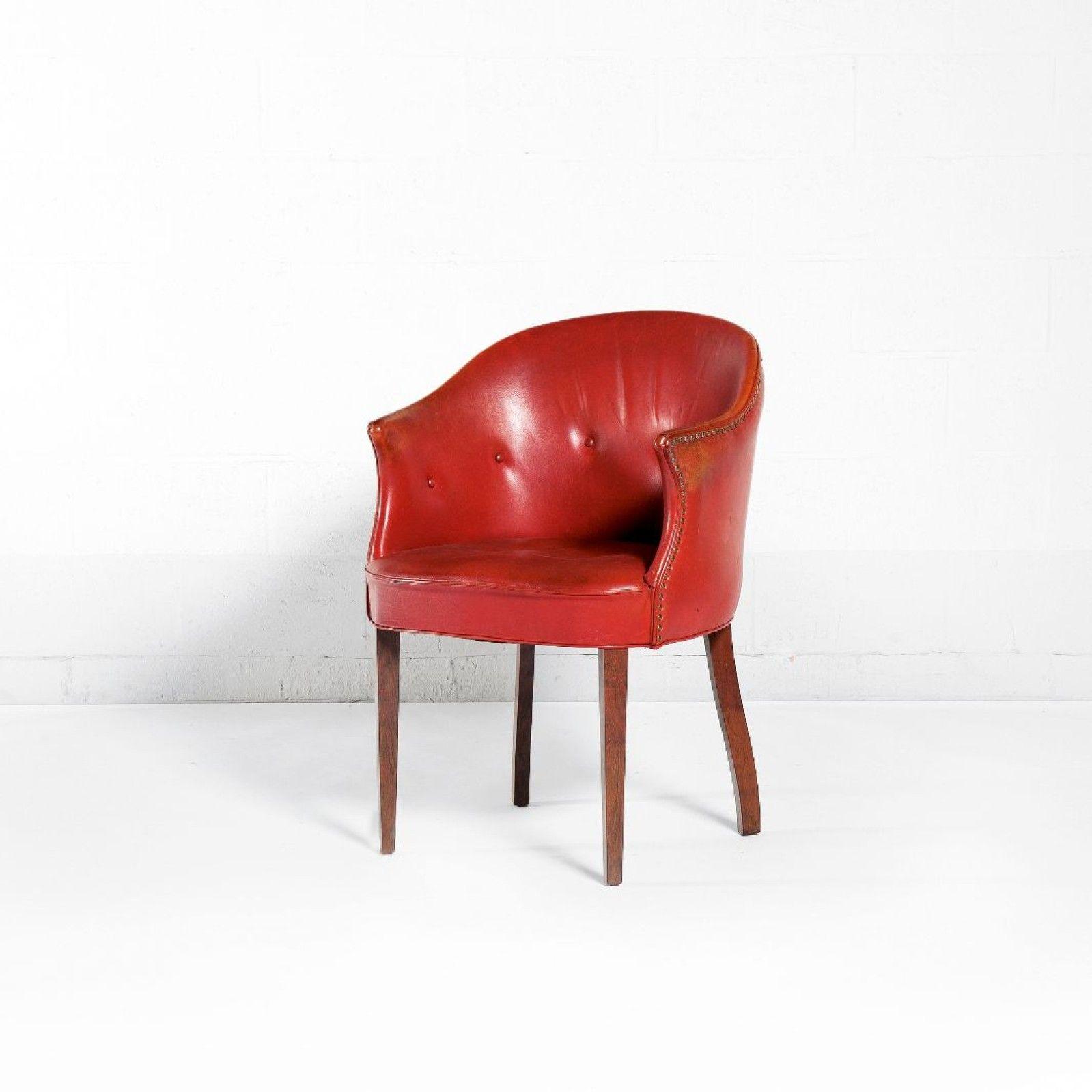 FRITZ HENNINGSEN Danemark Rare fauteuil Palissandre, cuir rouge ...