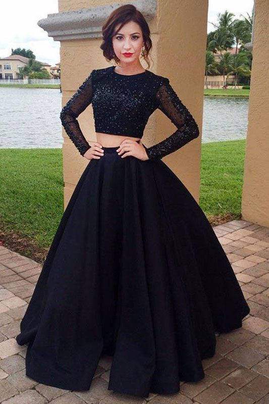 line long sleeve prom dressesblack satin two also piece beading scoop rh pinterest