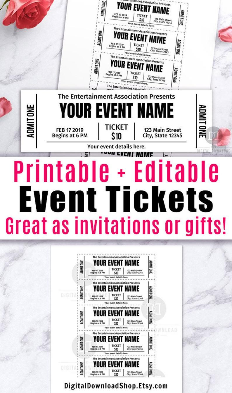 Event Ticket Printables Editable Event Tickets Event Ticket Etsy In 2021 Ticket Template Free Ticket Template Ticket Template Free Printables Free event ticket template download