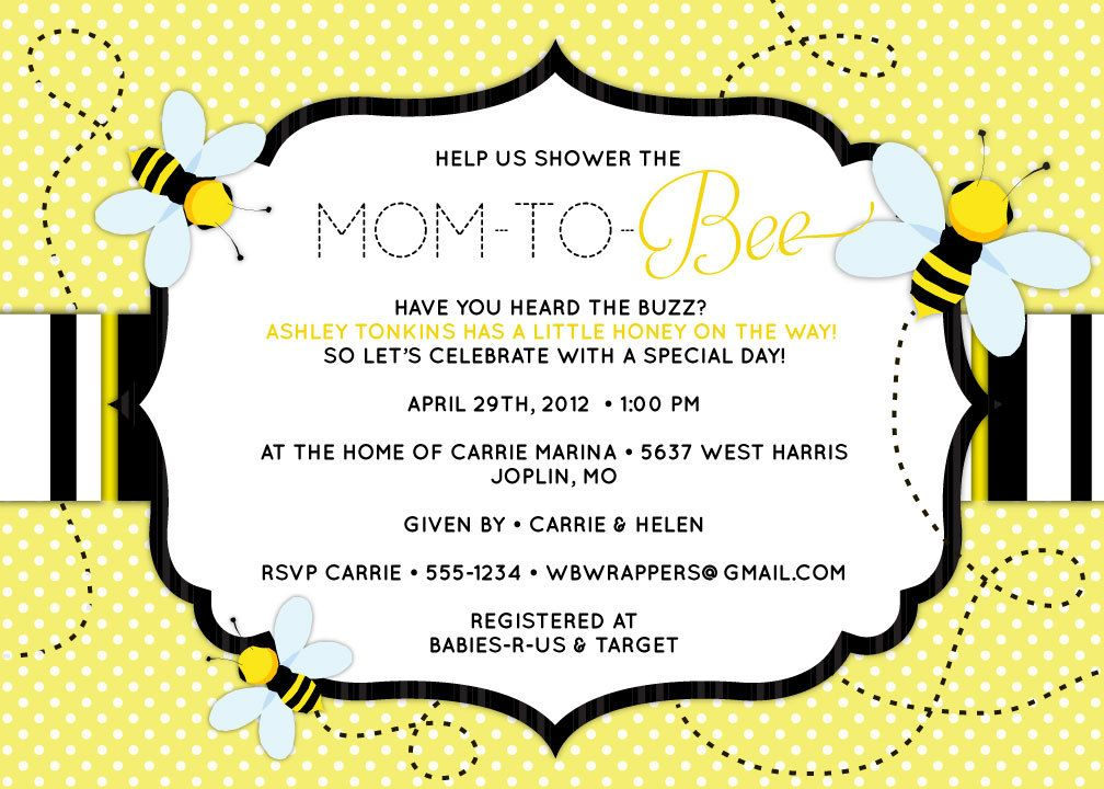 Bee Themed Baby Shower Invitation Mom To