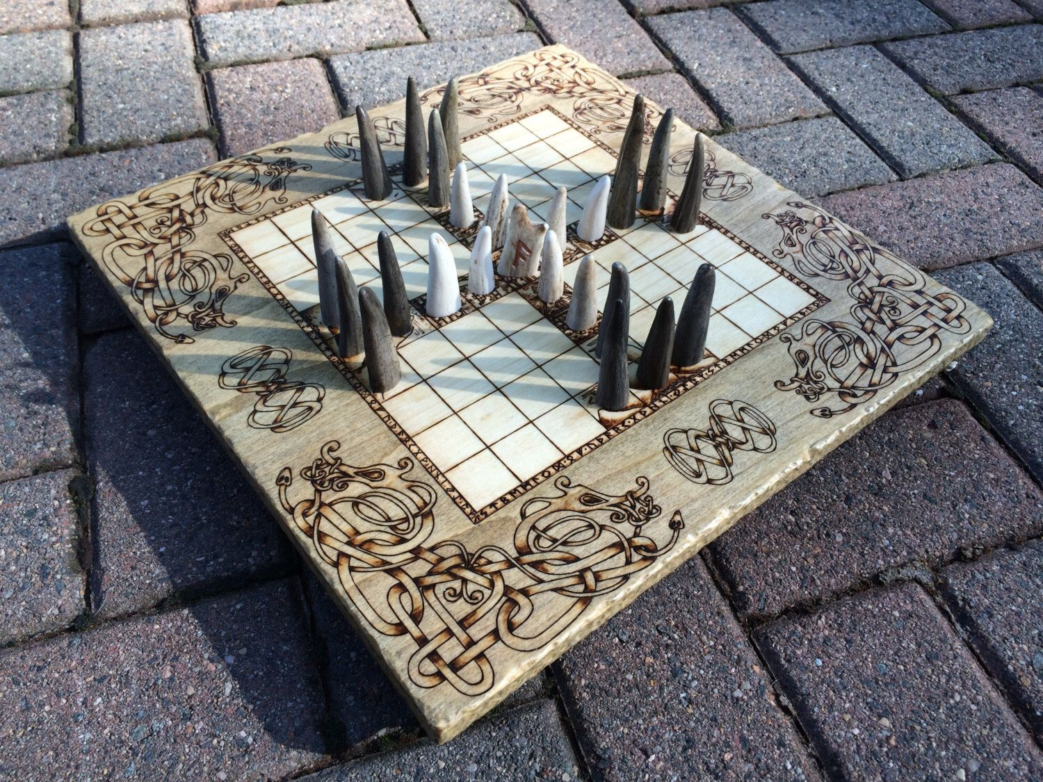 "Hnefatafl, Tablut, Viking Chess Game, ""Board of the Asgardians"" - {Legacy Edition} - Deluxe hnefatafl board & playing pieces - MADE TO ORDER by IGNITEDArtsDesign on Etsy https://www.etsy.com/listing/289827871/hnefatafl-tablut-viking-chess-game-board"