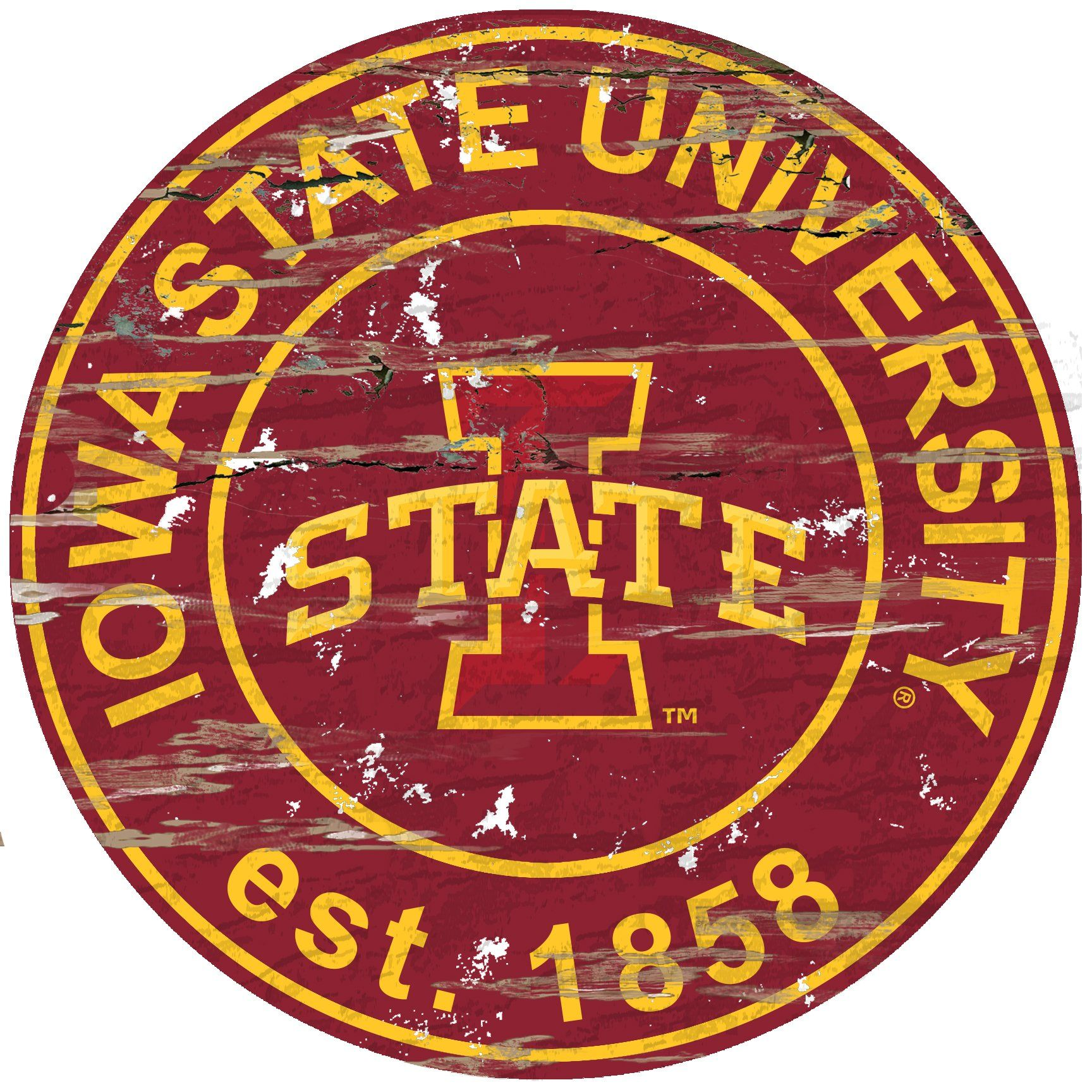 Iowa State Distressed 24 Round Sign In 2020 Iowa State Cyclones