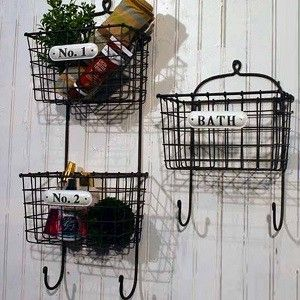 2 Tier Metal Hanging Wire Baskets | Hanging Letter Organizer | Wire Mail  Basket