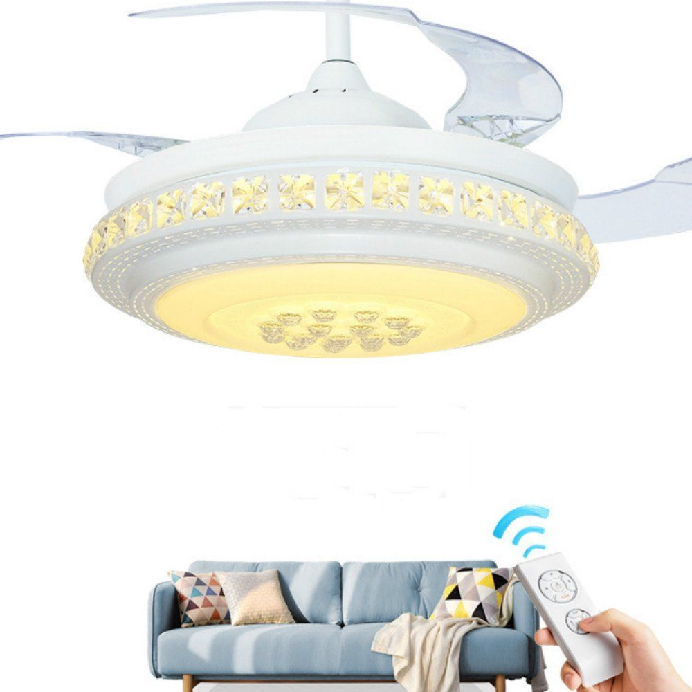 Lighting Groups Retractable Blades Indoor Ceiling Fan With