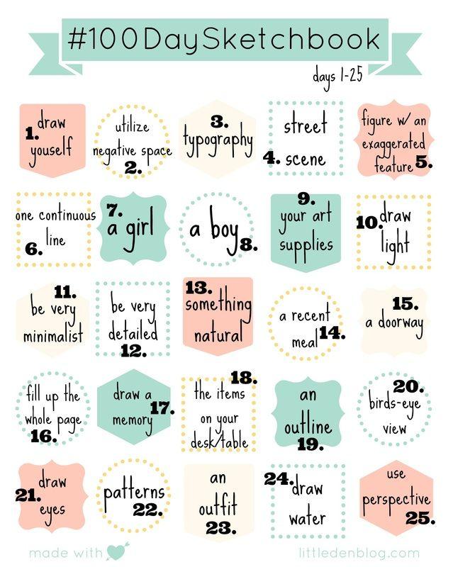 100 Day Sketchbook Printable Days 1 25 Sketch Book 30 Day Drawing Challenge Art Journal Challenge