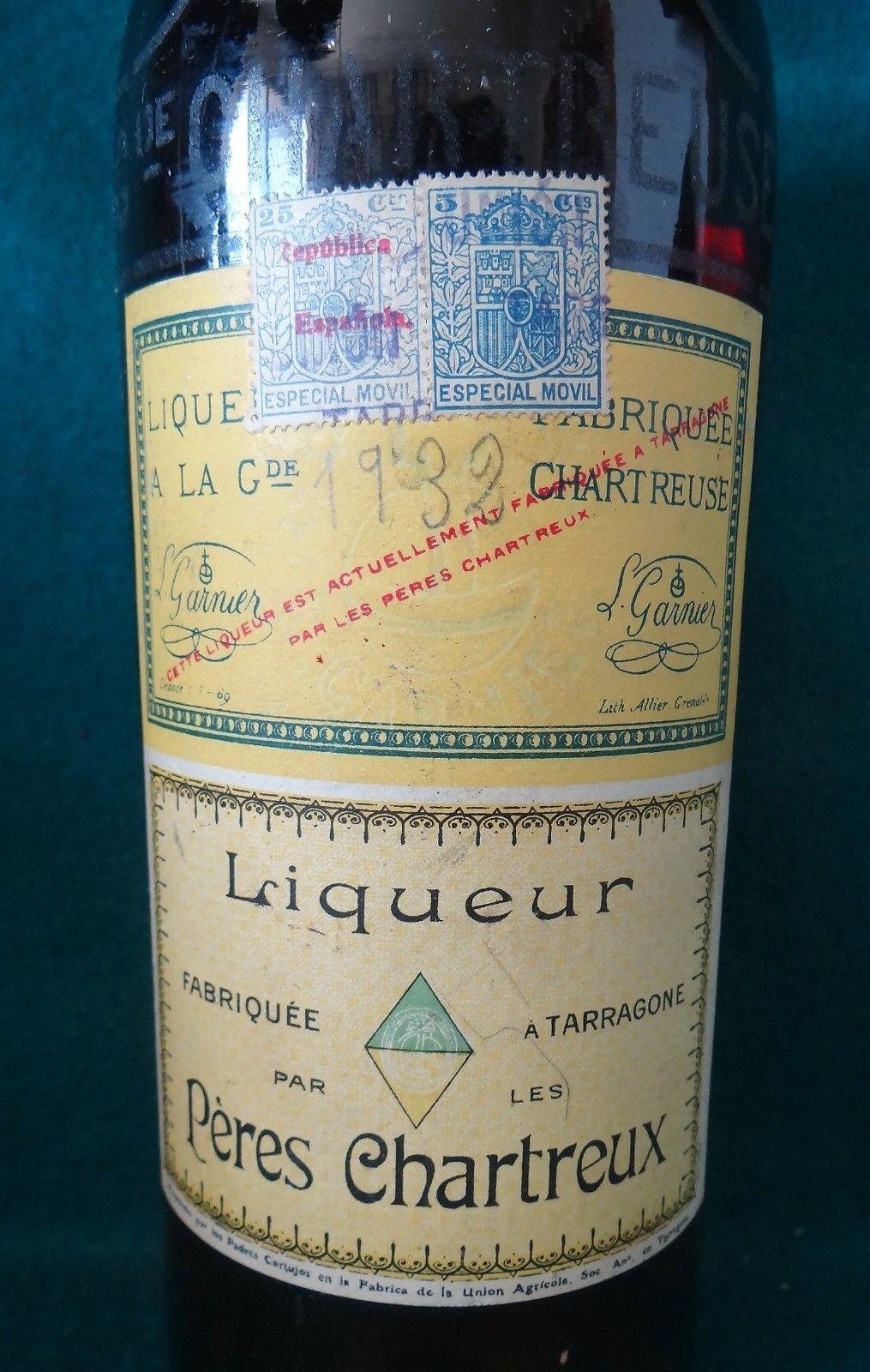 Compro Botellas De Vino Antiguas Antigua Botella Licor Chartreuse 1932 Tarragona Litro Ebay