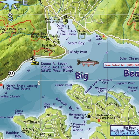 big bear lake fishing map Big Bear Lake Franko 39 S Fabulous Maps Of Favorite Places big bear lake fishing map