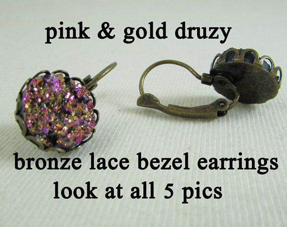 Earrings  12mm Pink Gold Druzy  Lace Silver by MaDGreenCreations