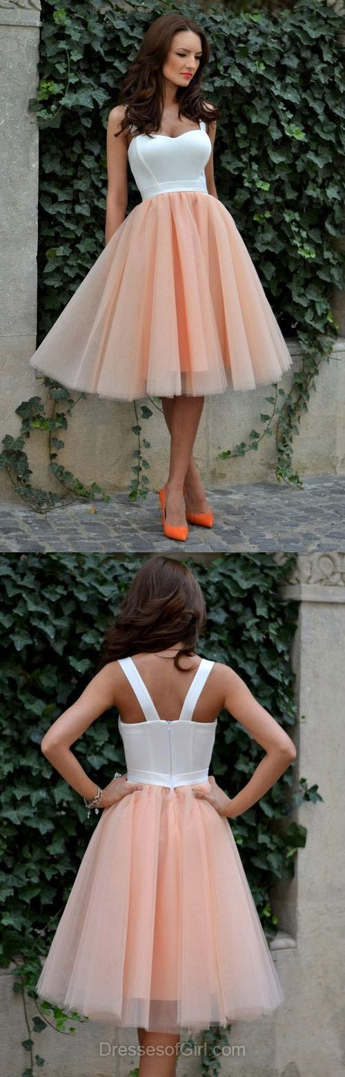 Tulle Prom Dress, Tea Length Prom Dresses, Sweetheart Homecoming ...