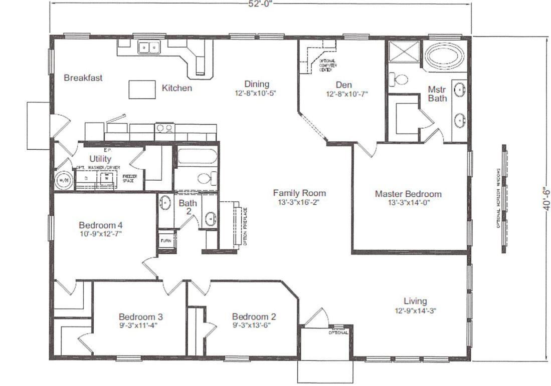 Custom Skyline 40x52 4 Bedrooms 2 Bath Family Room Modular Homes Manufactured Homes Skyline Homes Ziegler Modular Homes Skyline Homes Manufactured Home