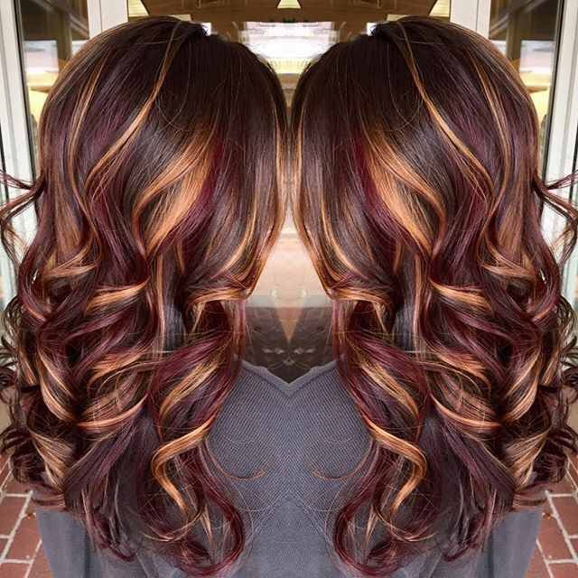 Chocolate Brown Base With Burgandy And Gold Highlights Long