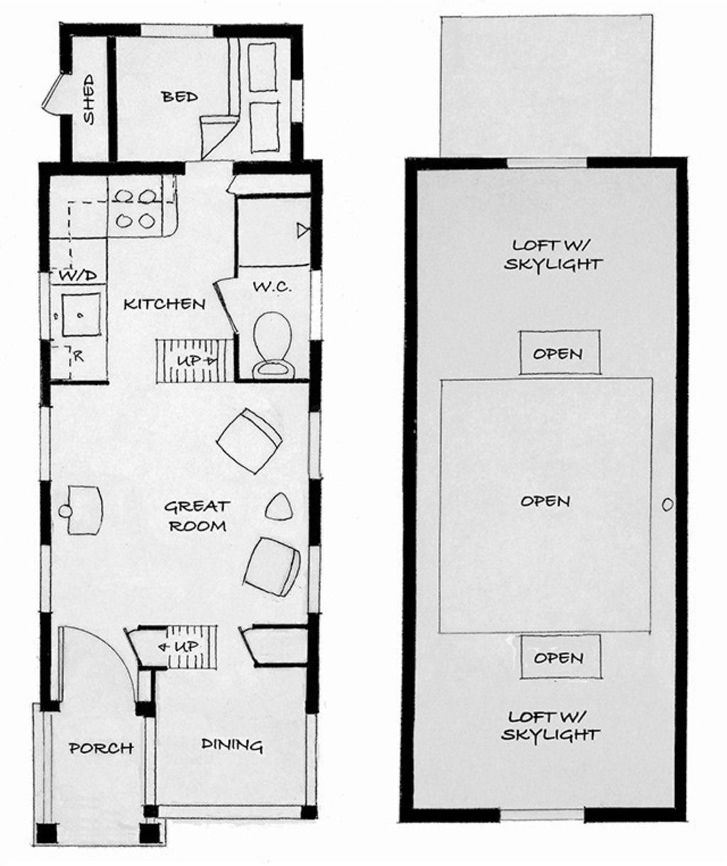 House plan with furniture - Tiny House Plans