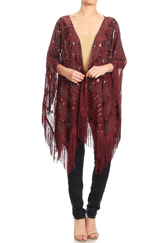 858e447beba6 Womens Oversized Hand Beaded and Sequin Evening Shawl Wrap with Fringe -  Burgundy - CB180MZNXZC - Scarves & Wraps, Fashion Scarves #SCARVES #WRAPS  ...