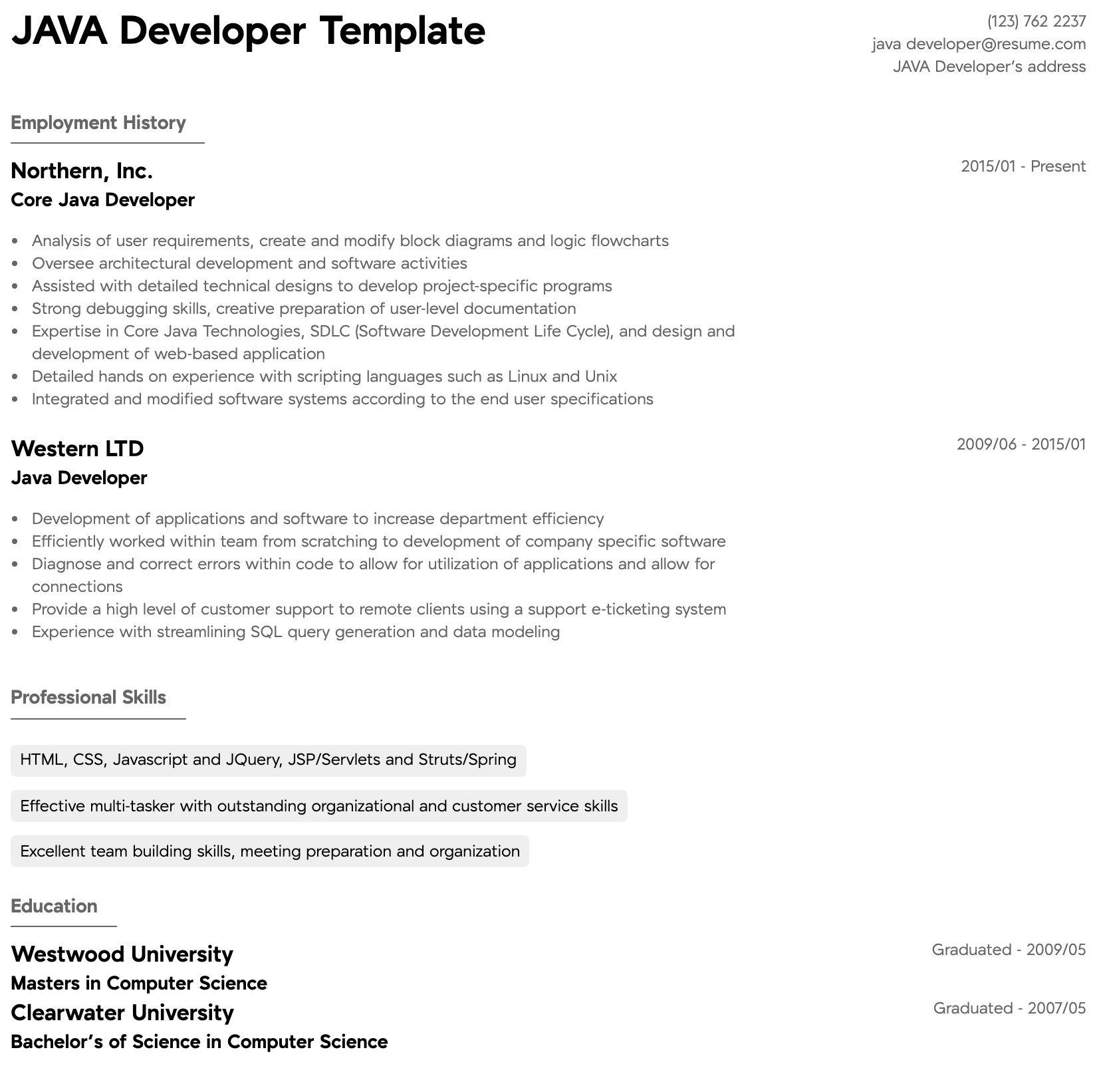 Free java developer resume sample professional resume