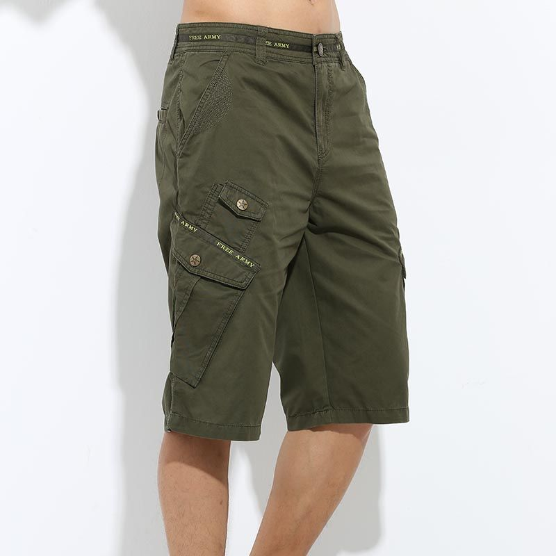 Men/'s Summer Cargo Loose Shorts Casual Chino Beach Pocket Half Trousers Shorts