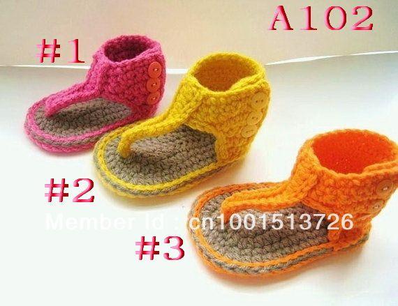 Patrón de ganchillo para baby sandalias botines o pdf patrón ...