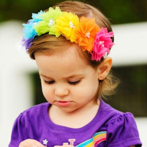 1 UNID Encantadora Chica Dulce Flores de La Venda Del Cordón Hairband de La Perla Bandas Rainbow Hair Niños Accesorios para el Cabello Diadema