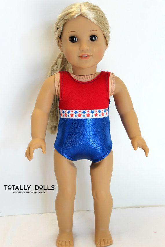 "Patriotic Stars Leotard fits American Girl 18/"" doll clothes Gymnastics Swimsuit"