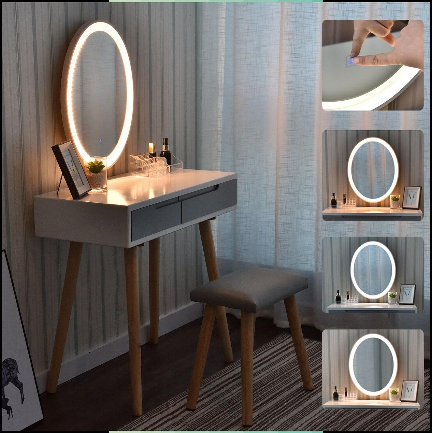 Schminktisch Frisiertisch Kosmetiktisch Kommode Mit Hocker Beleuchtung Spiegel In 2020 Frisiertisch Schminktisch Kosmetiktisch