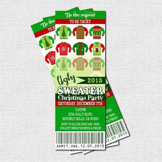 UGLY SWEATER CHRISTMAS PARTY - Printable Ticket Invitations - printable ticket invitations