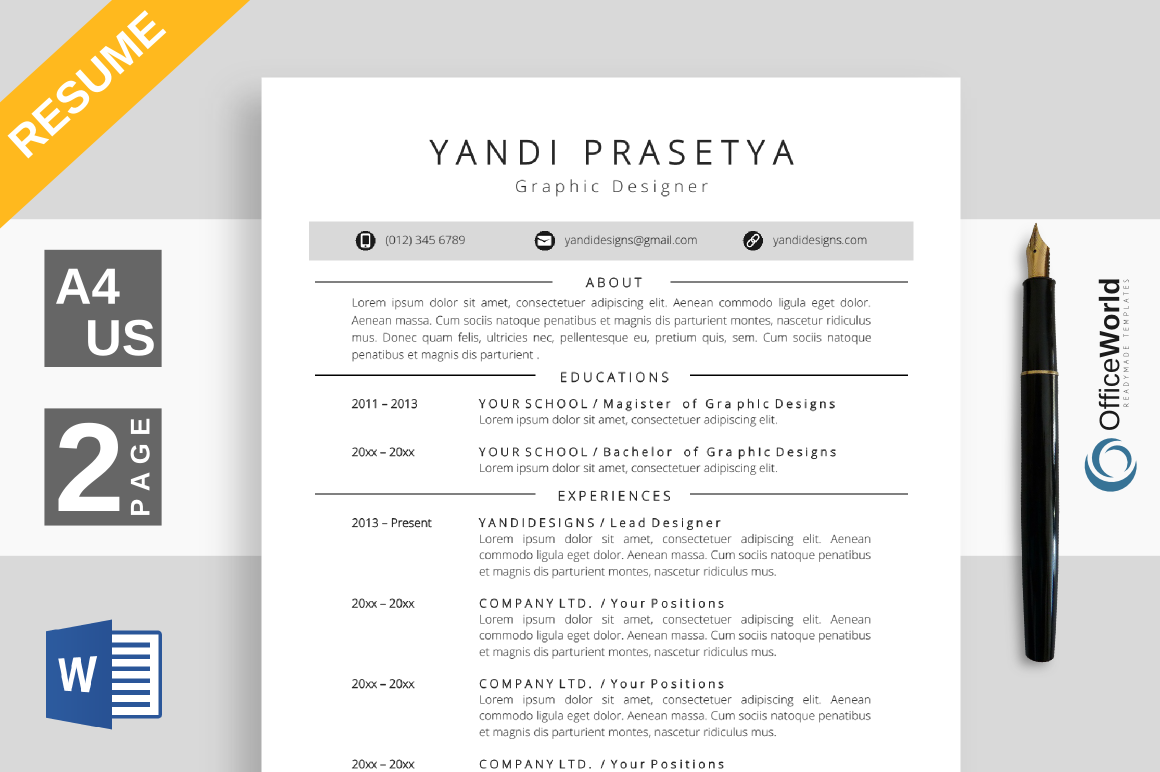 Mellon Resume / CV Ms Word | Pinterest