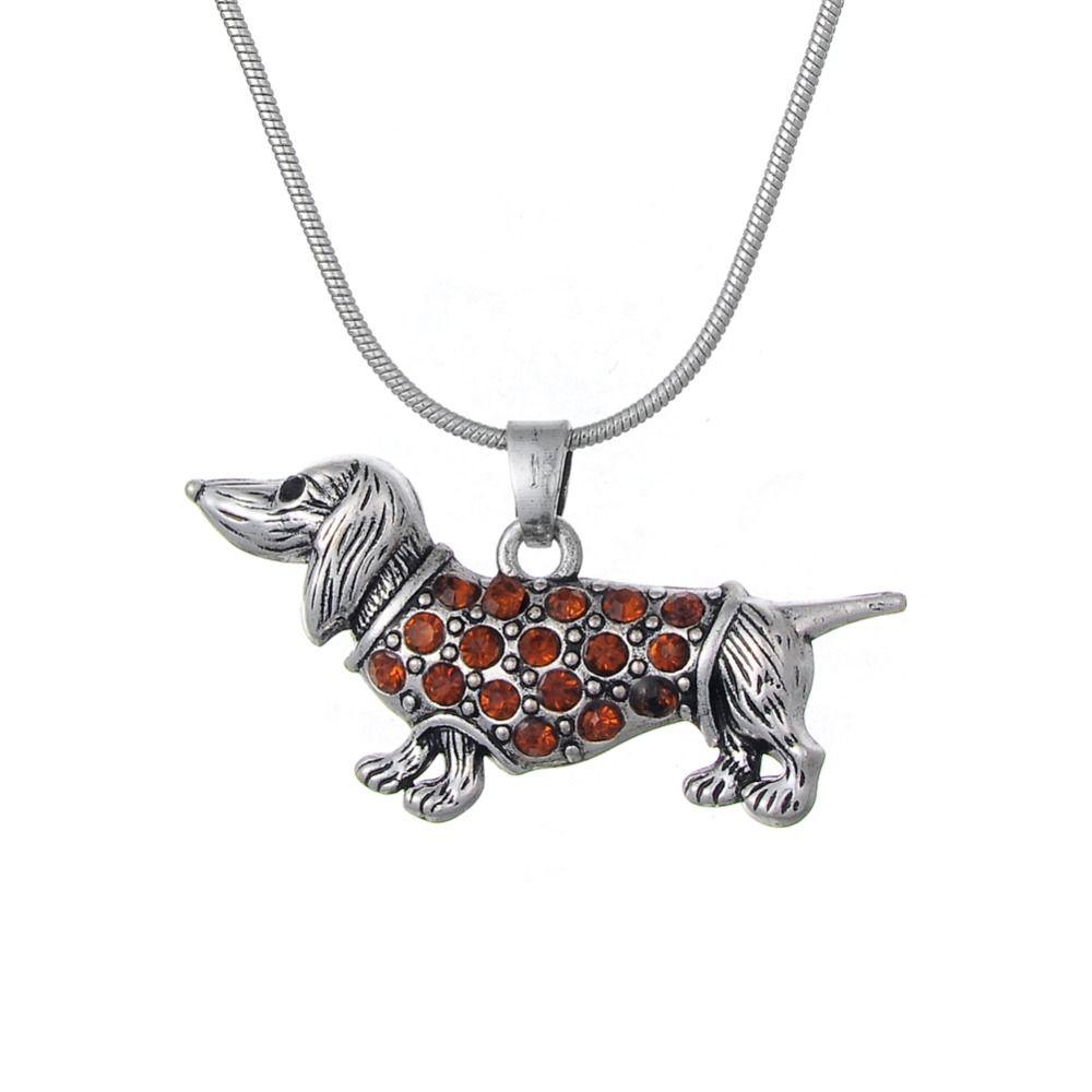 Dachshund Weenie Dog Breed Silver Brown Crystal Charm Bracelet Jewellery Gift S5W70Sk0M