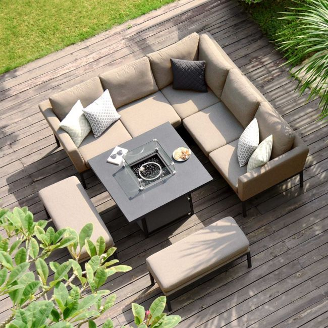 Maze Lounge Outdoor Fabric Pulse Square Corner Dining Set With Fire Pit Table Taupe In 2020 Corner Dining Set Outdoor Fabric Outdoor Dining Set
