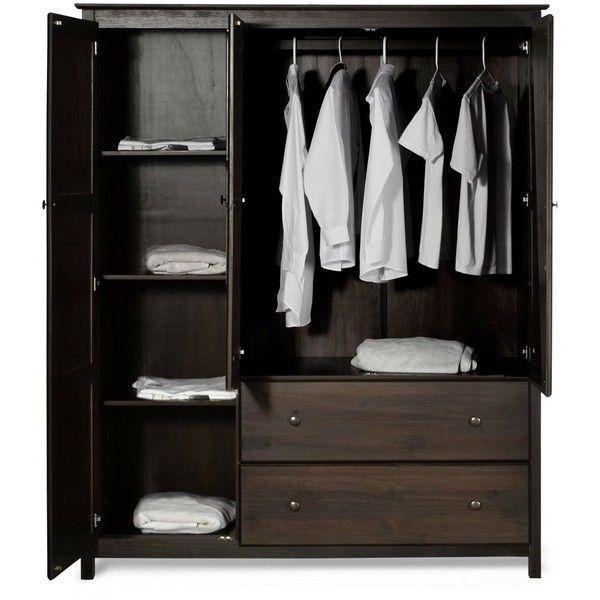 Espresso Wood Finish Bedroom Wardrobe Armoire Cabinet Closet ...