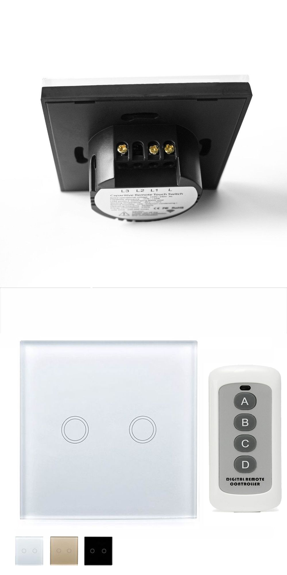 Eu Uk Wall Touch Smart Switch 2 Gang 1 Way White Crystal Glass Panel Two L1 L2 L3