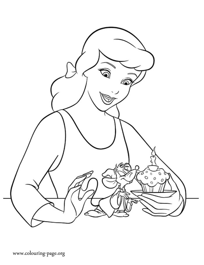 it seems that cinderella made a special birthday cake for her friend jaq just print - Cinderella Coloring Pages Print