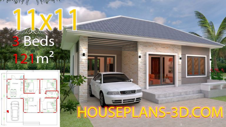 House Design 7x10 With 3 Bedrooms Hip Roof House Plans 3d Simple House Design House Plans Small House Design