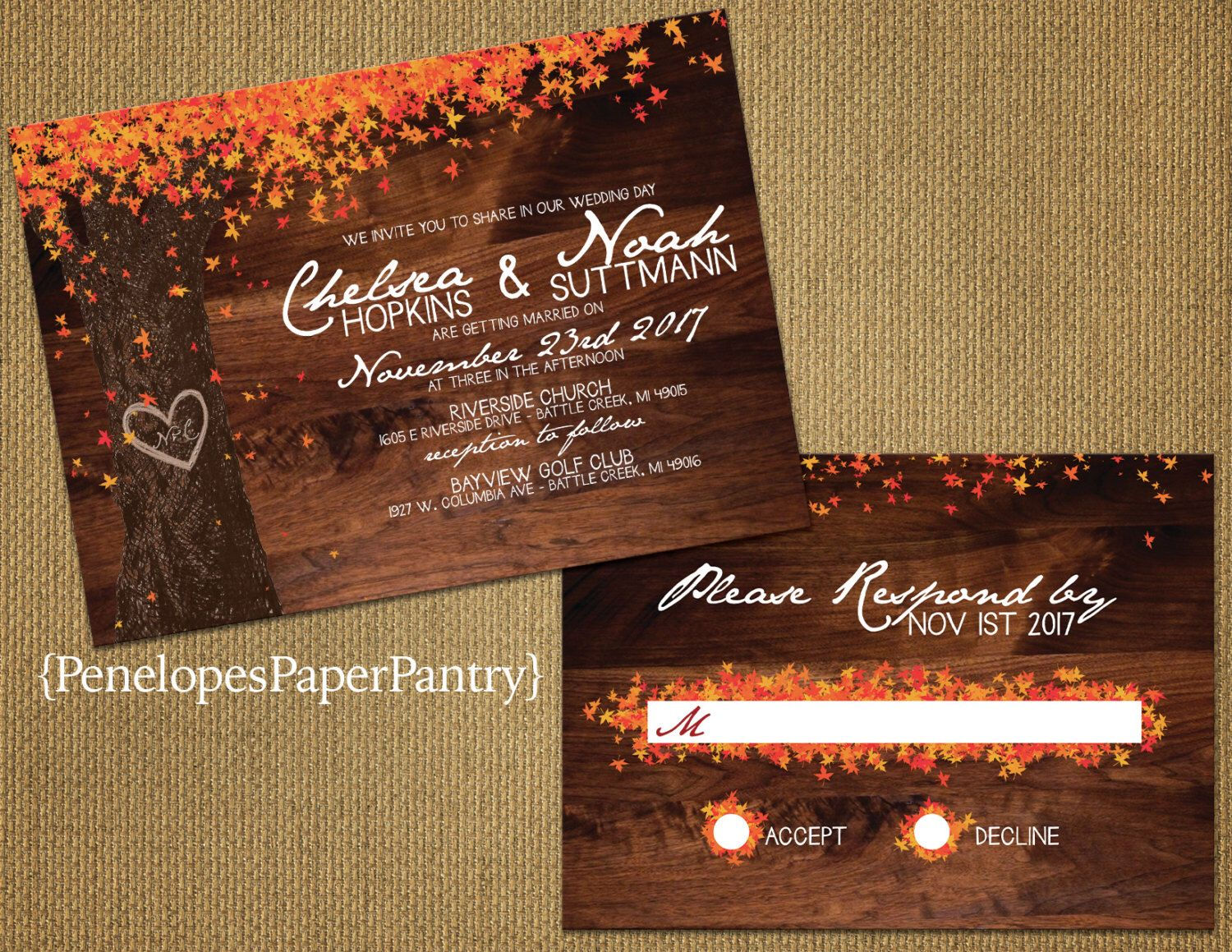 Elegant Rustic Fall Wedding Invitation Oak Tree With Colorful Leaves Heart Carved