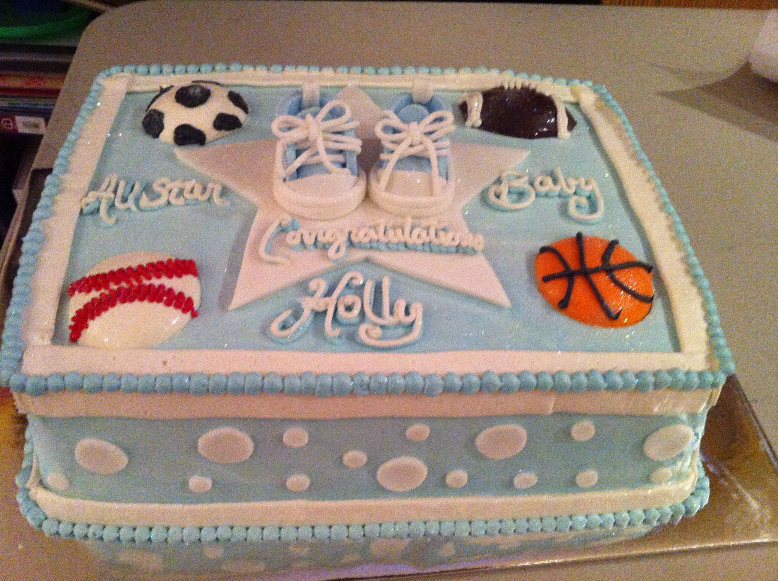 Sports Themed Baby Shower Cake With Images Baby Shower Cakes