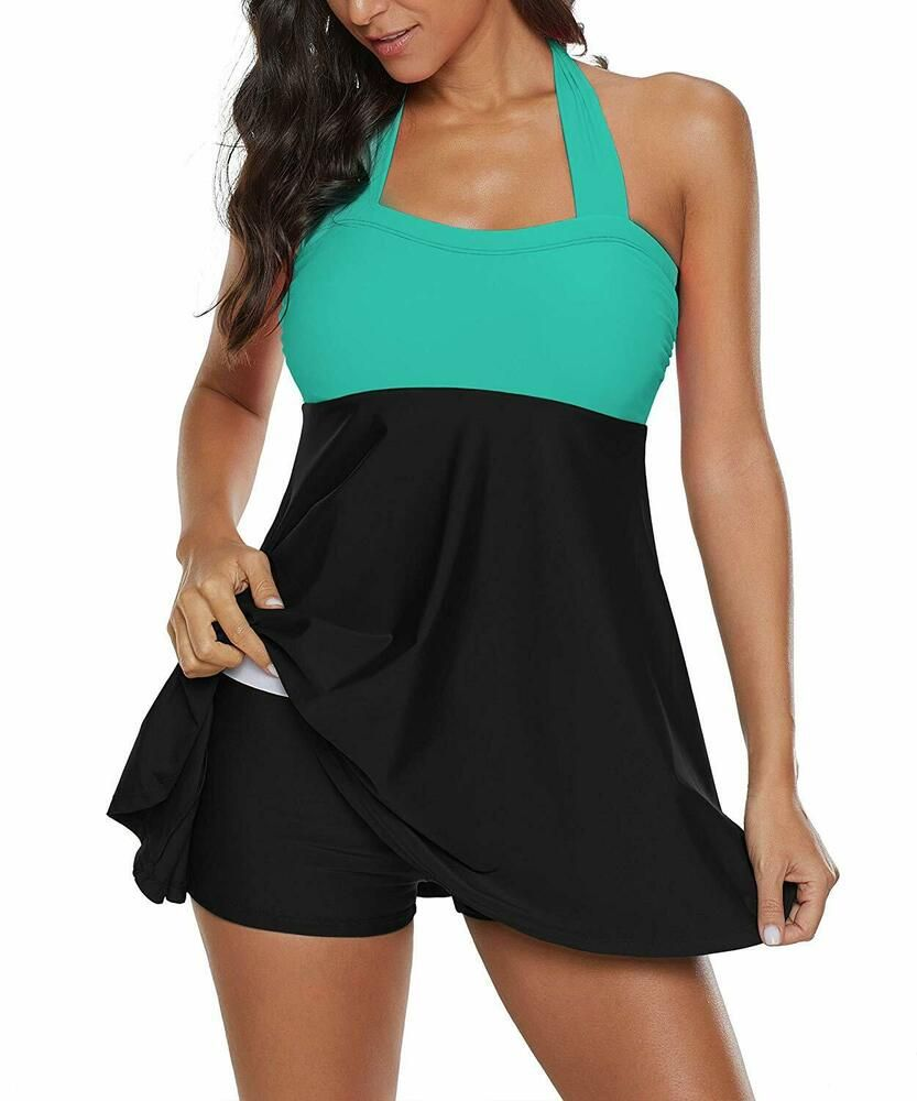 1ea4d22f39 Womens Sporty Boyleg Swimdress Plus Size Vintage Halter One Piece Swimsuit  Long  fashion  clothing