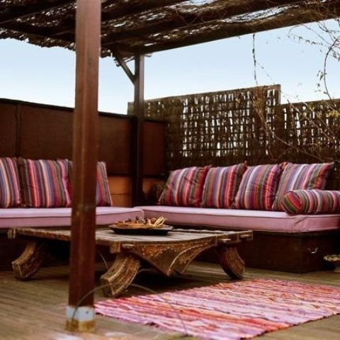 moroccan garden furniture. 55 Awesome Morocco-Style Patio Designs : Charming Morocco Style With Pink Brown Sofa Pillow Carpet Wooden Table Ceiling And Hardwood Floor Moroccan Garden Furniture S