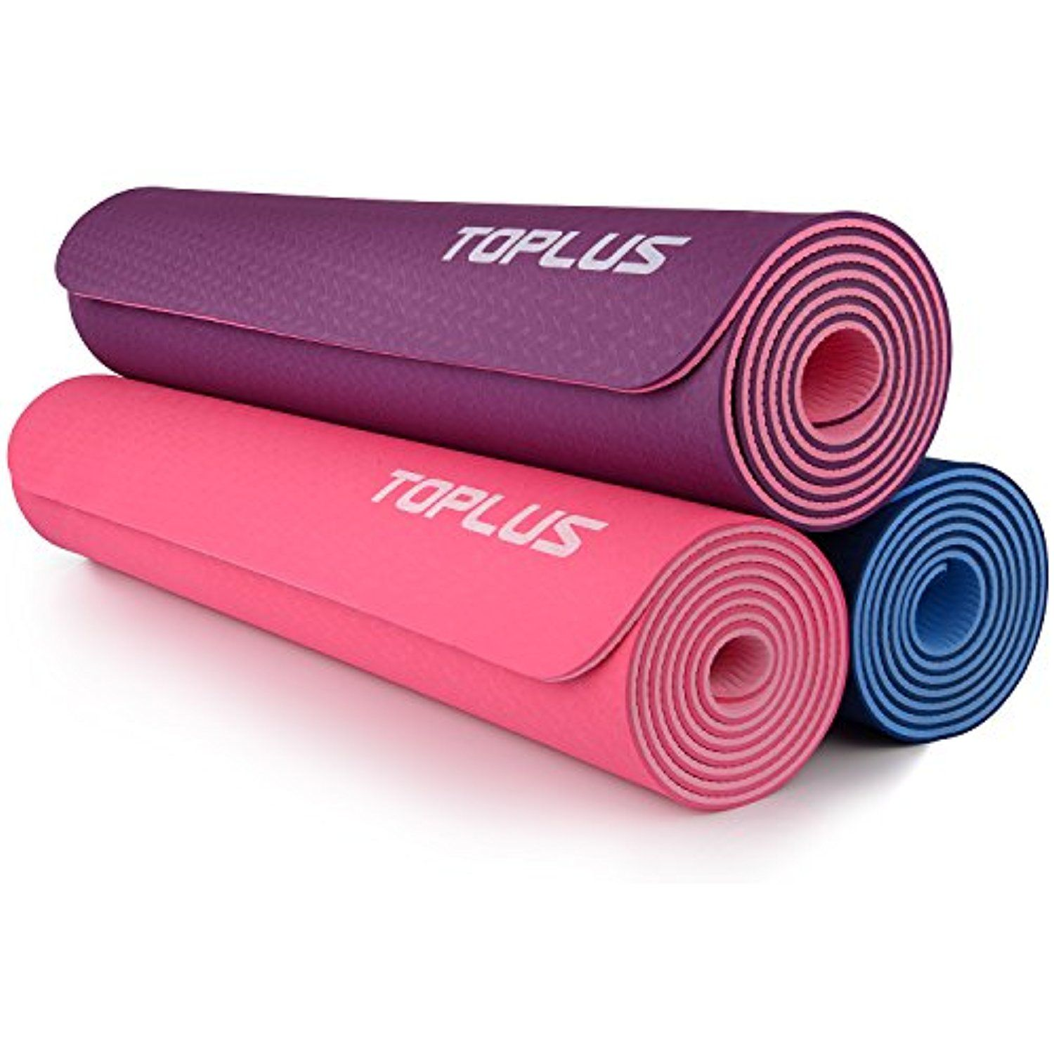 Toplus 1 4 Inch Premium Tpe Yoga Mat With Carrying Strap Non Slip Eco Friendly Durable Fitness Exercise Mat 6mm Thick For M With Images Mat Exercises Exercise Yoga Mat