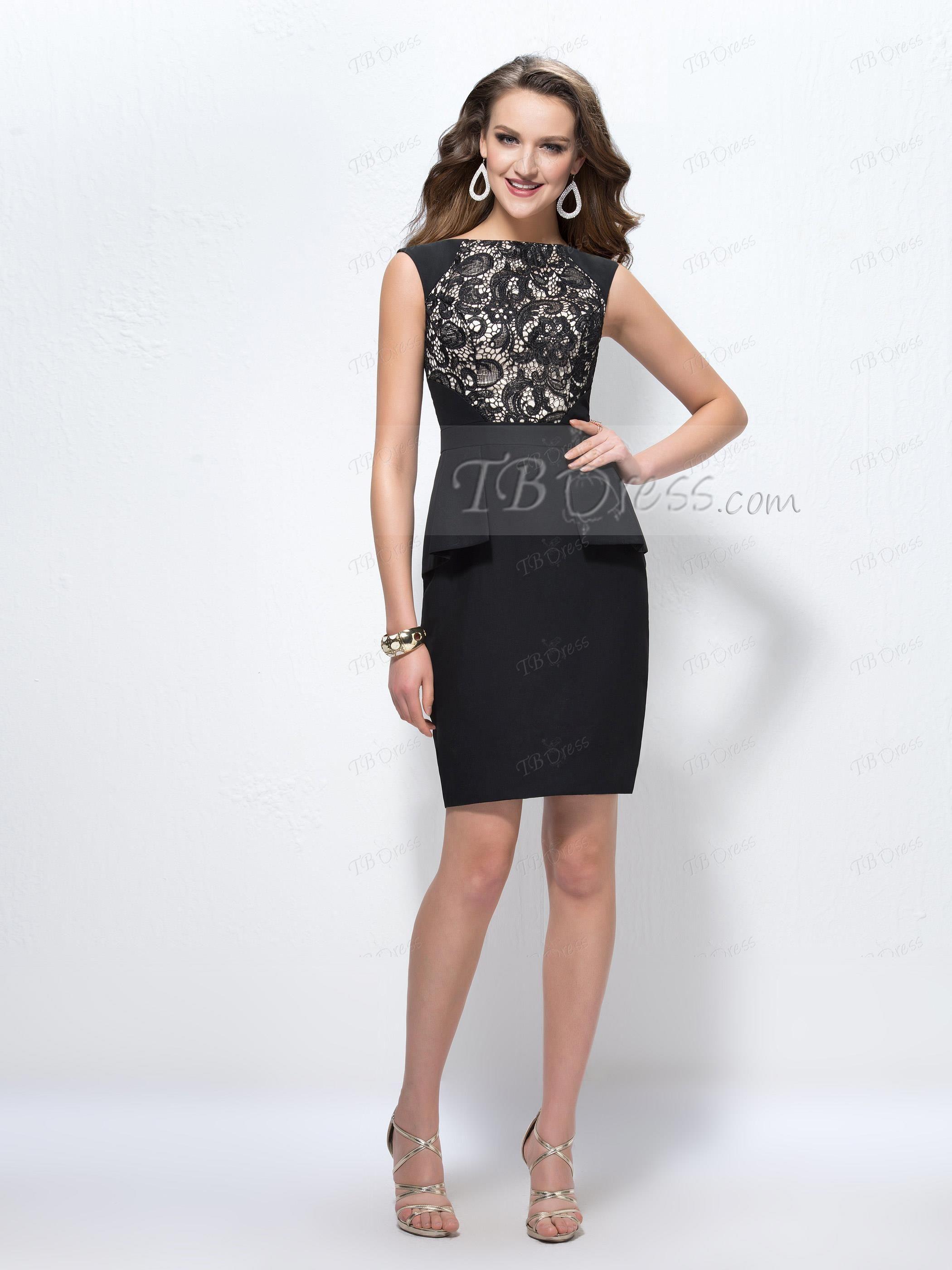 Sheath Lace Bateau Neckline Short Zipper-up Formal Dress | Neckline ...