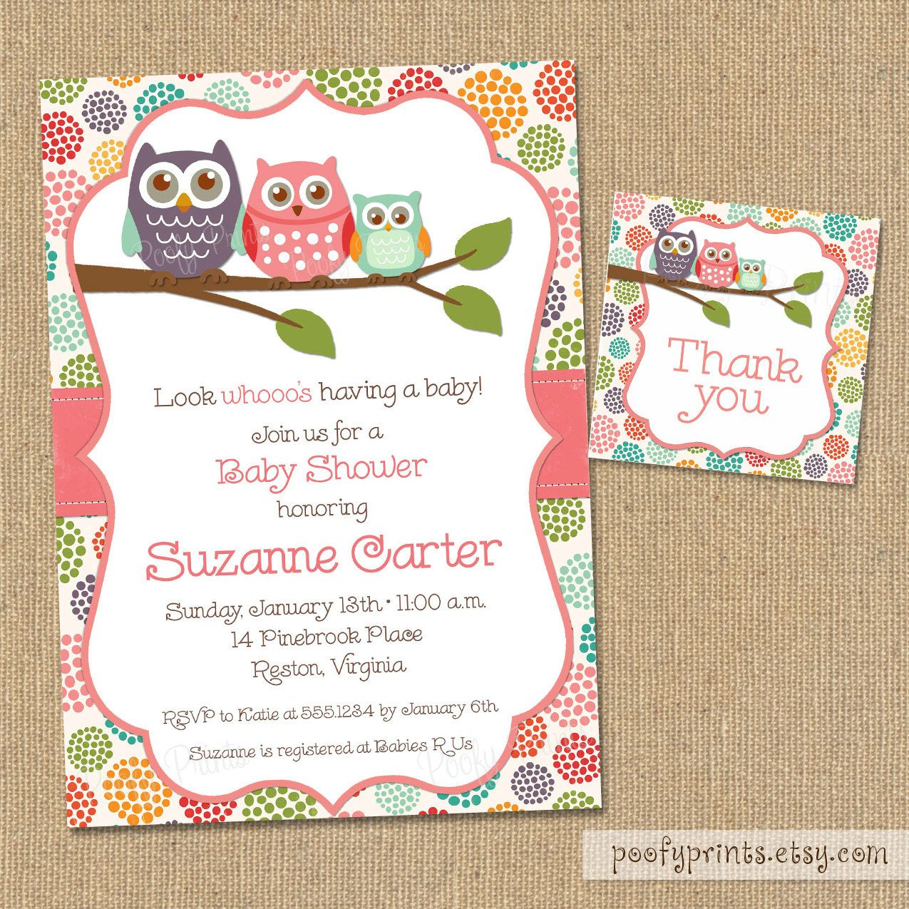 Owl Baby Shower Invitations - DIY Printable Baby Girl Shower ...