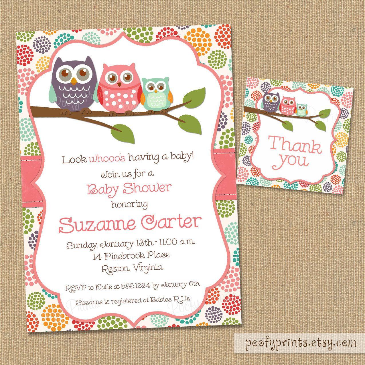 Owl Baby Shower Invitations - DIY Printable Baby Girl Shower ...