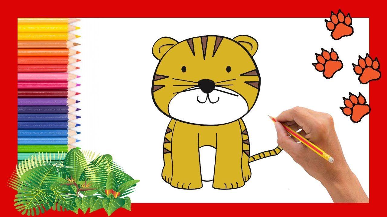 Como Dibujar Y Colorear Un Tigre Facil Para Ninos How To Draw A Tiger Como Dibujar Un Tigre Dibujos Faciles Para Ninos Dibujos Para Ninos