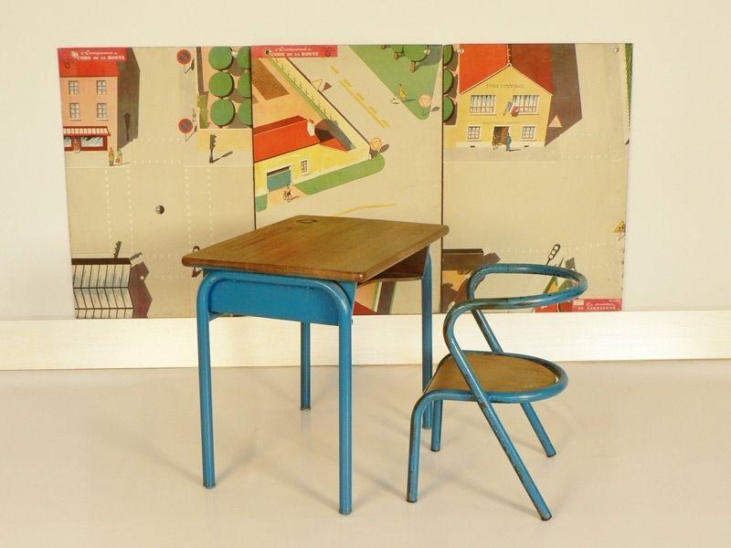 Tableau chambre enfant bureau d écolier vintage #décoration
