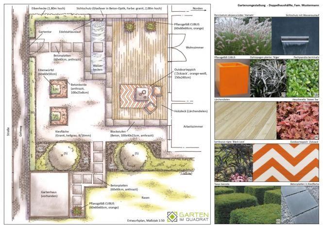 Garden Plan Master Plan Gartenplanung Zeichnung Moderner Garten