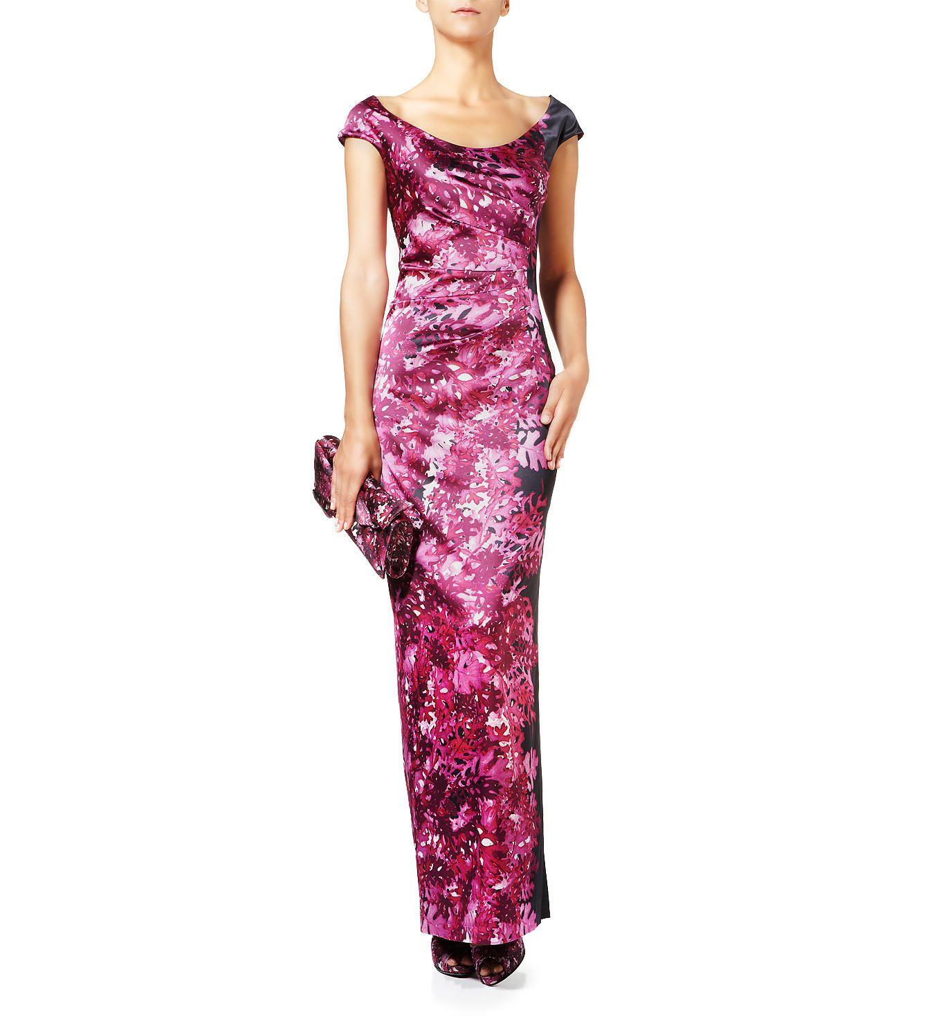 Sooooo glamorous! Florales Abendkleid 'Vorba1' Burgunder/Multi von Talbot Runhof bei UNGER