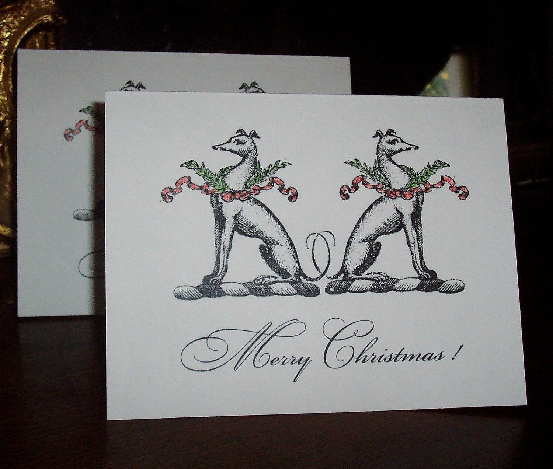 Double Greyhound ,Whippet, Italian Greyhound Christmas Cards Dog 10 Hand Colored Blank Cards. $13.50, via Etsy.