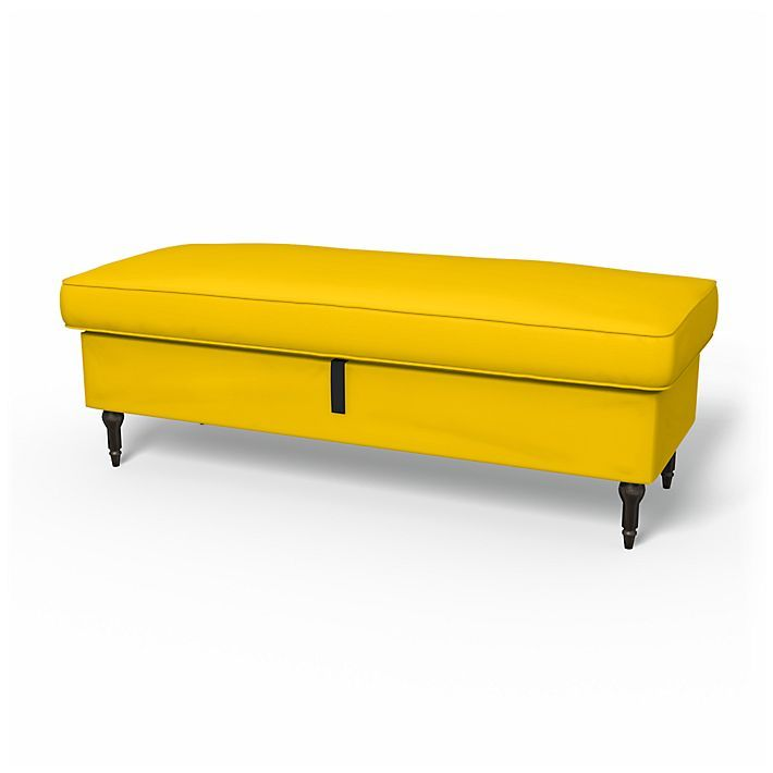 Stocksund, Footstool Covers, Bench, Regular Fit using the fabric Panama Cotton Sun Yellow