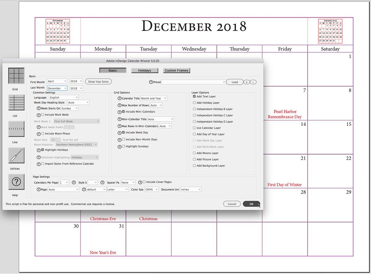 Building calendars the easy way with this script for Adobe